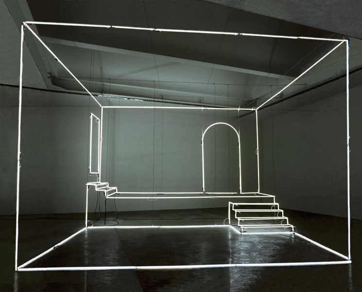 massimo uberti uses beaming neons to trace make belief rooms in selby rooms in spain