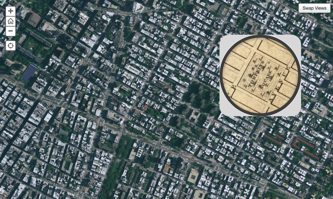 Interactive map comparing New York City of 1836 to Today
